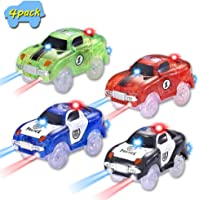 Dotopon Magic Race Car 4 Pack, Light-Up Fast Speed Cars Replacement Track Car Toy
