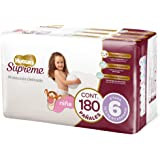 Huggies Supreme Pañal Desechable para Bebé, Etapa 6 Niña, Caja con 180 Piezas, Ideales para niñas de más de 13.5 kg