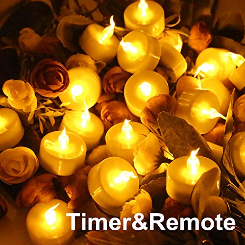 Topstone Tealight Candles with Flickering Amber Led Bulb and Timer,Remote Control,Electric Fake Candle Battery Powered Flameless Candles,Pack of 18 (Amber Led Tealight Candles)