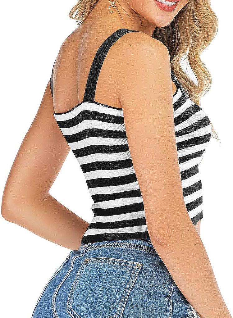 Cute Tops for Women,YEZIJIN Fashion Women Off Shoulder Stripe Caims Knitted Sleeveless Tops T-Shirt for Teen Girls
