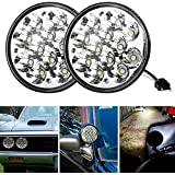 "Round Led Headlights 5.75"" 5-3/4"" 36W H5001 Par46 Fit for Unity Spotlight Truck Led Flood Work Light Replacement Sealed Beam Projector Chrome Offroad Tractor- Pair"