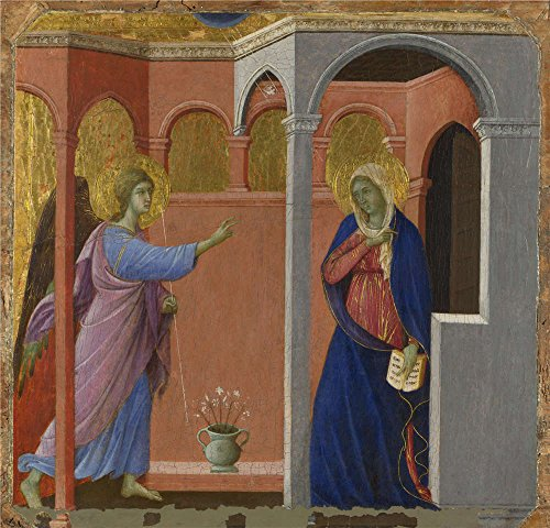 11' Wok (Oil Painting 'Duccio-The Annunciation,1307-11', 20 x 21 inch / 51 x 53 cm , on High Definition HD canvas prints is for Gifts And Foyer, Gym And Powder Room Decoration, custom printed)