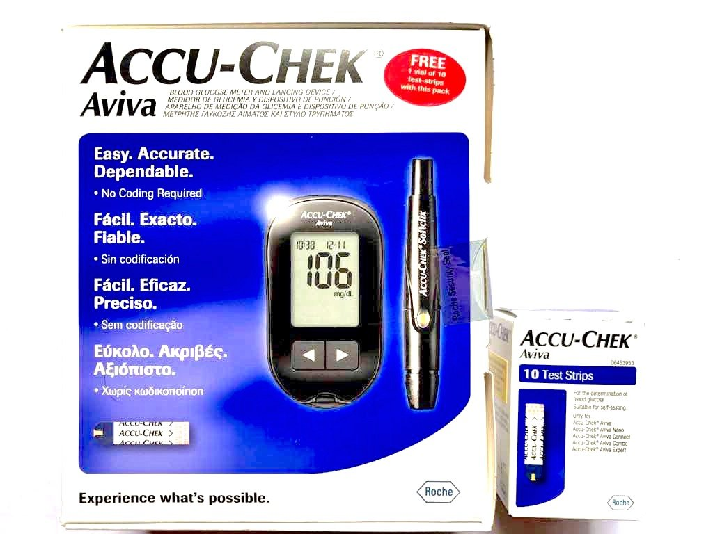Accu-Check Aviva Glucose Meter With 10 Strips Free by Roche Diabities Care GmbH