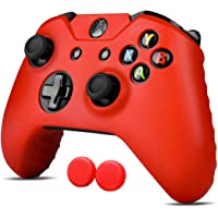 Xbox One S / X Funda Silicona + 2 Grips Texturizados (Rojo) Funda de Silicon para control de XBOX Alomia - Estuche de silicon anti deslizante, Funda protectora, Cubierta para control de XBOX 1.
