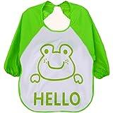 Ularma Bébé Long manchon étanche alimentation Bib Art tablier belle Cute Cartoon bavoirs pour bébé auto alimentation (vert)