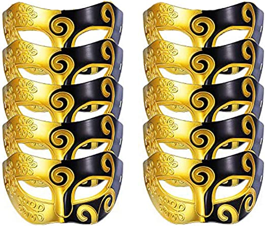 MASQUERADE BLACK GOLD HALF FACE MASK Unisex Fancy Dress Costume Accessory