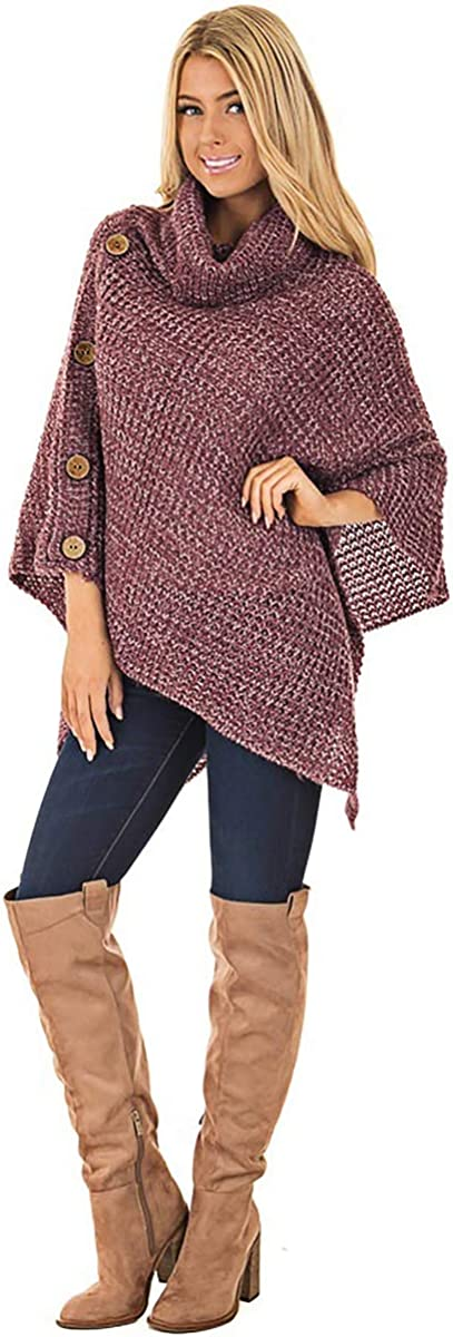 Yunnyp ponchos para mujer chales su/éter mujeres cuello de tortuga de invierno capa irregular poncho su/éter de punto jersey chal abrigo oto/ño invierno