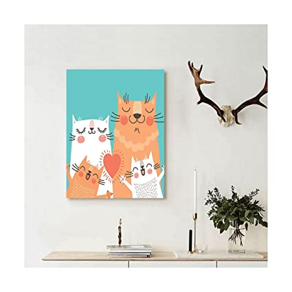 Liguo88 Custom Canvas Funny Decor Wall Hanging Cute Kitten Couple Sweet Happy Paws Loving Heart With