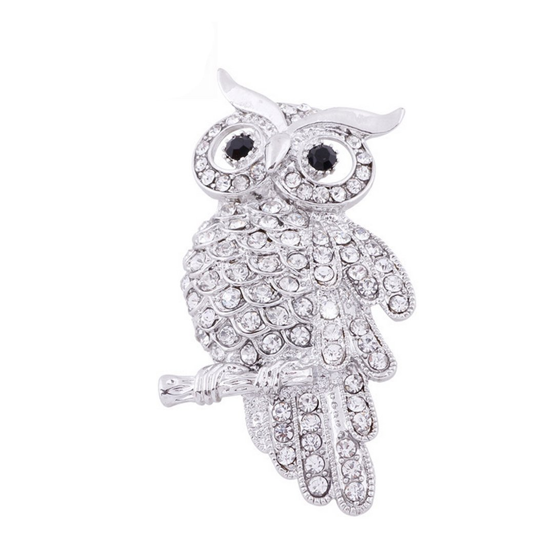 AiSi Delicate Owl Brooch with Austrian Element Crystal for Women Men