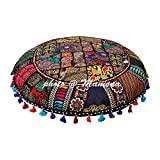 Round Cotton Floor Cushion Cover Vintage Embroidered Patchwork Black 32'' Tuffet Indian Floor Pillow Cover