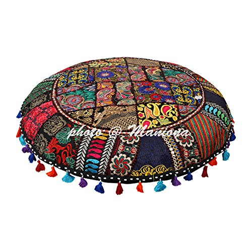 Round Cotton Floor Cushion Cover Vintage Embroidered Patchwork Black 32'' Tuffet Indian Floor Pillow Cover by ManionaCrafts
