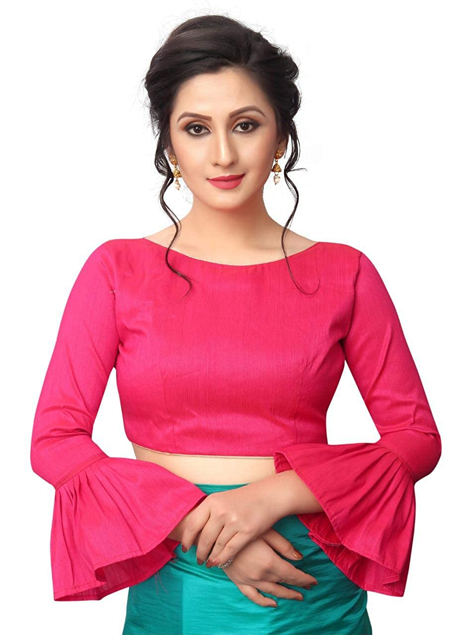 2e69a97d01faa2 AnK Women s Pattern ruffle Silk Saree With Blouse (Firozi Pink)  Amazon.in   Clothing   Accessories