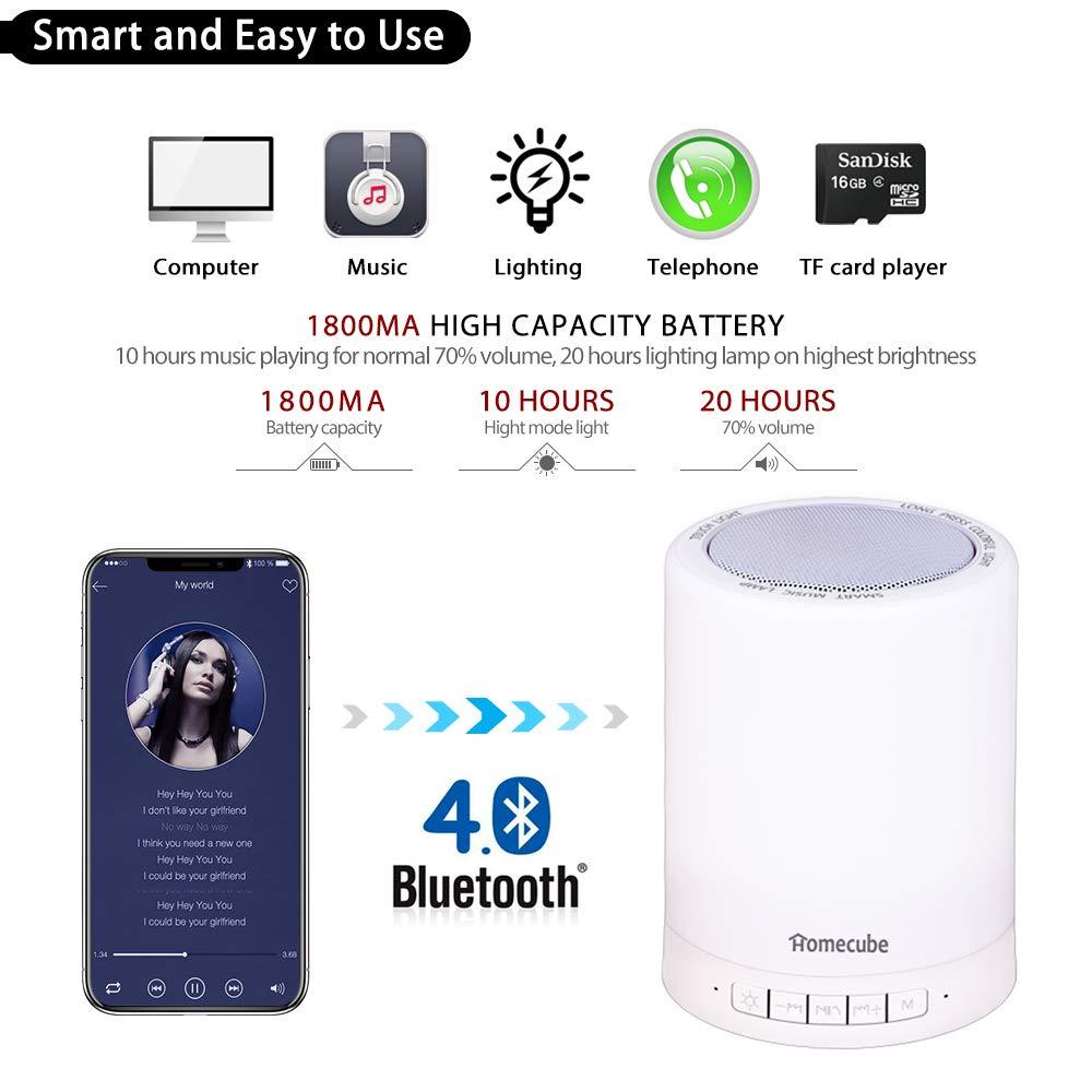 515c8b5d524 Lámpara y Altavoz Bluetooth Homecube, Lámpara Led de Mesa, Regulable  Lámpara de Noche RGB Incluye Entrada de Tarjeta y AUX, Altavoz Manos Libres  Ideal para ...