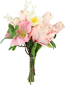 Rinlong Tulip Artificial Flower Bouquet Fake Silk Tulips Blush Flowers Arrangements Centerpieces for Dining Room Table Summer Farmhouse Decor Kitchen Coffee Table Decorations for The Home