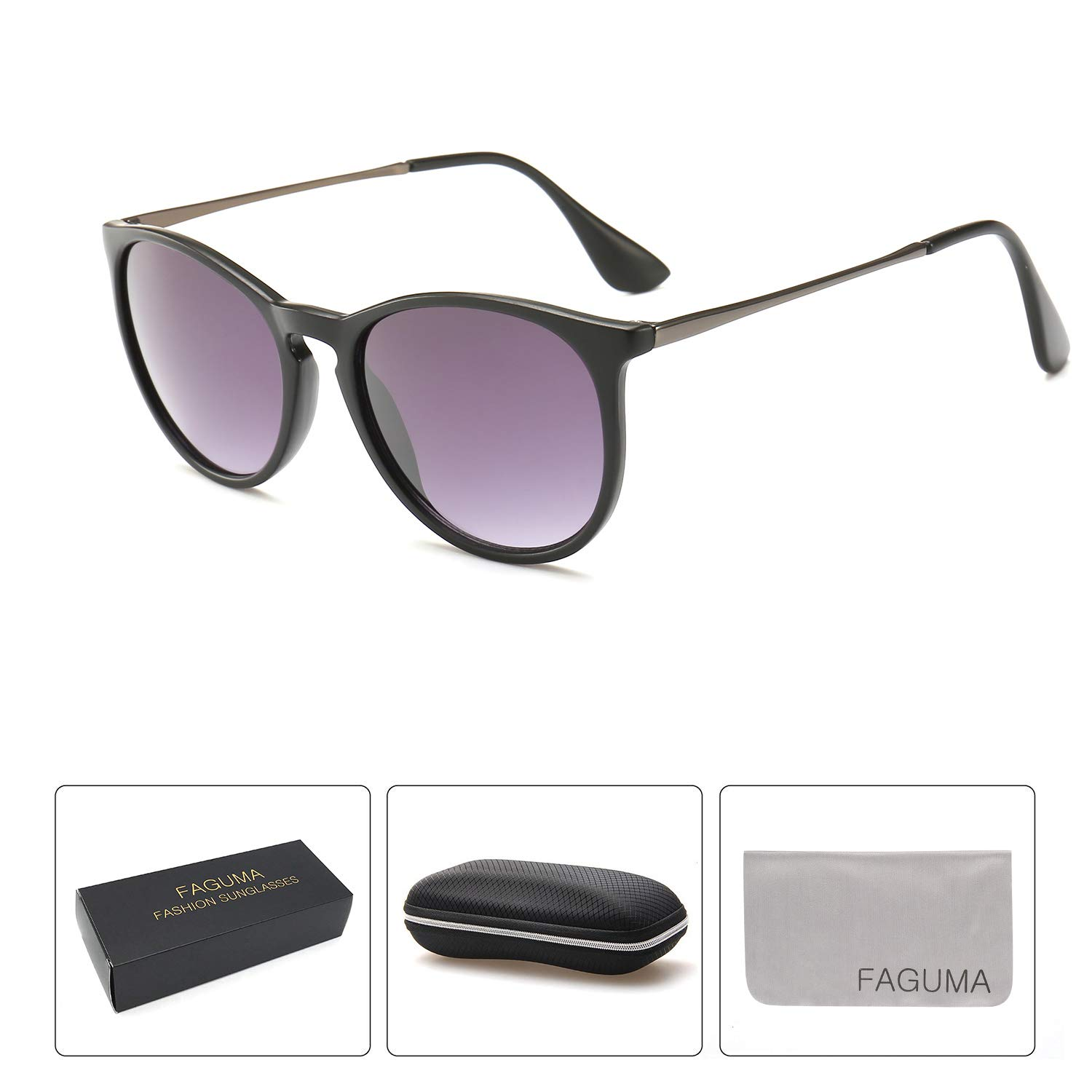 FAGUMA Vintage Round Sunglasses for Women Retro Erika Style Shades
