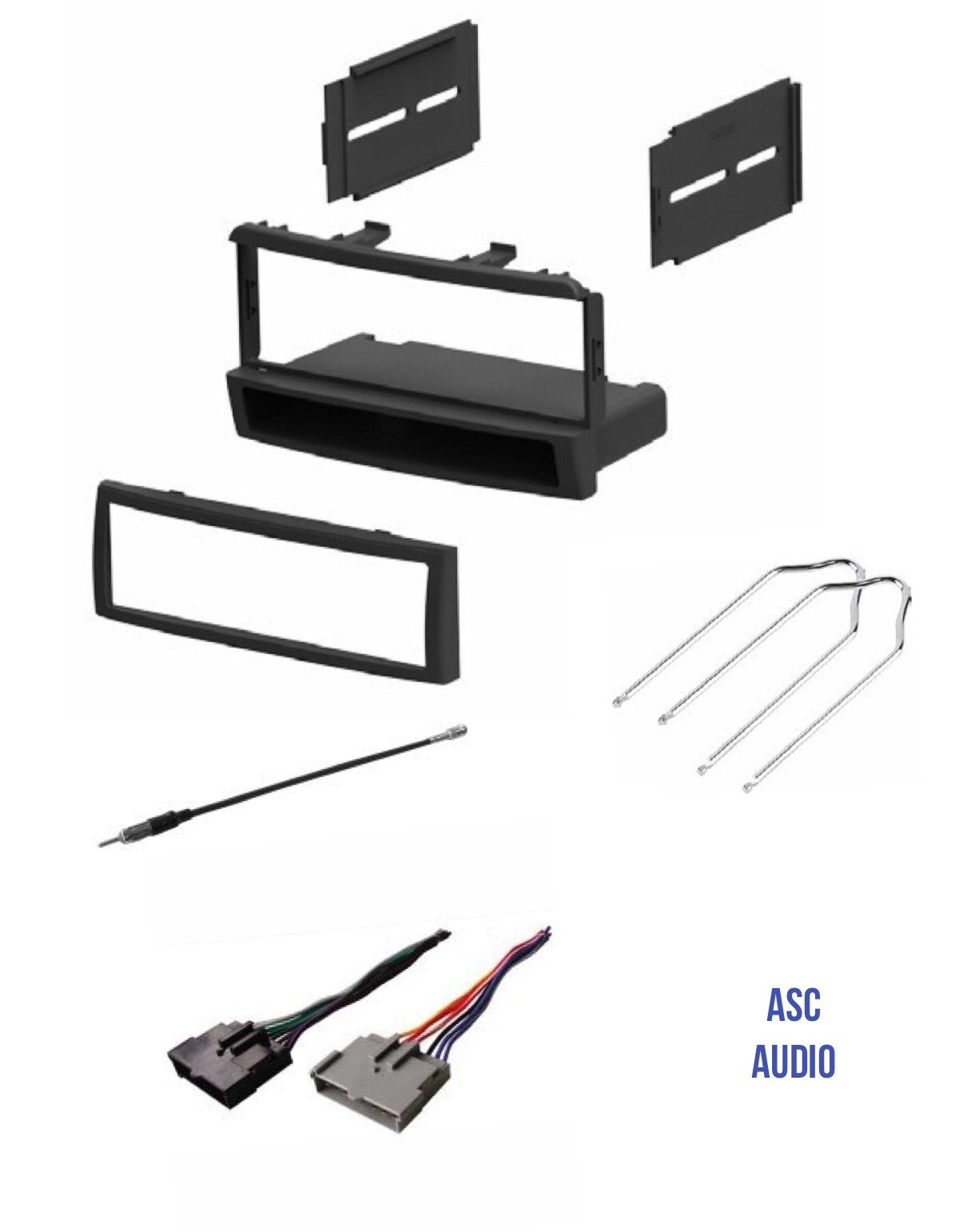 ASC Car Stereo Dash Kit, Wire Harness, Antenna Adapter, and Radio Tool for Installing a Single Din Radio for some 2000 - 2004 Ford Focus, 1999 - 2000 Mercury Cougar