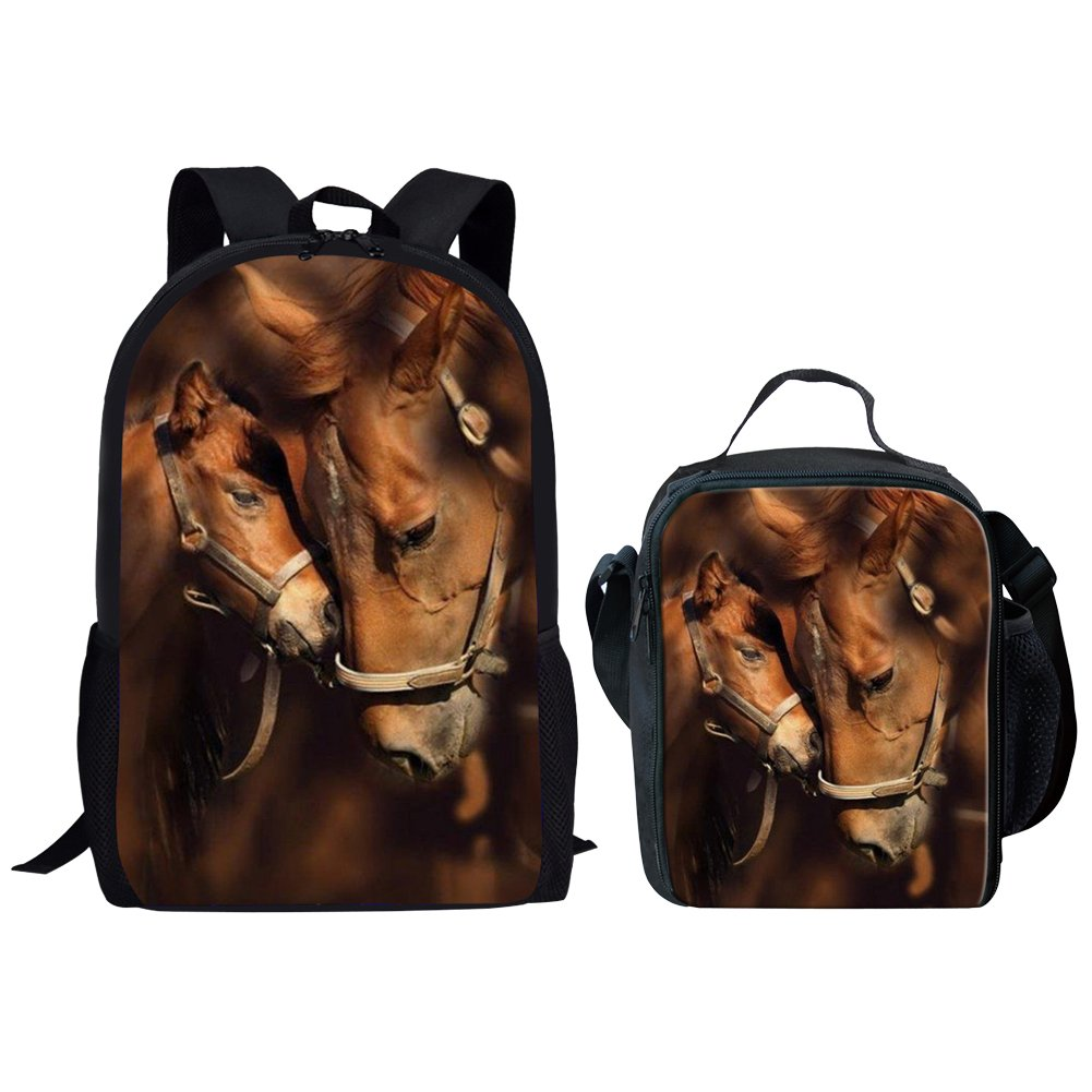 Middle School Backpack With Lunch Bag For Girls Fashion Book Bag Horse Print