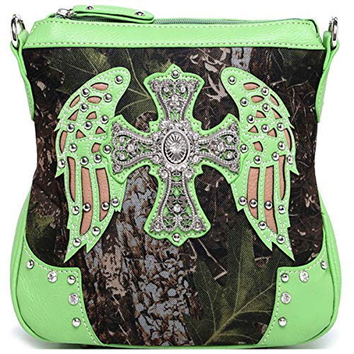 Western Cross Wings Camouflage Cross Body Handbag Concealed Carry Purse Country Women Single Shoulder Bag (Lime) (Green Purse Camo Lime)