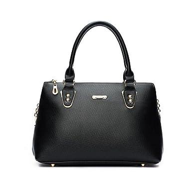 Frau PU Handtasche Europäischen Und Amerikanischen Wind Schulter Messenger Bag Hohe Umhängetasche,Grey-OneSize GKKXUE