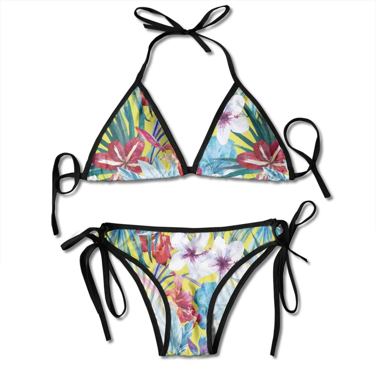 Amazoncom Sexy Swimsuits White Lily And Hibiscus Flower Bikini