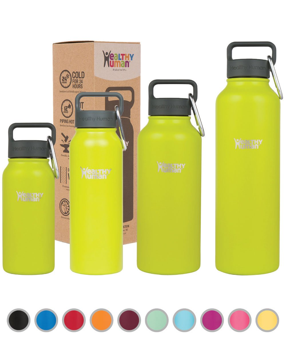 Healthy Human Insulated Stainless Steel Water Bottle Stein - Cold 24 Hrs/Hot 12 Hrs - Double Walled Vacuum Thermos Flask with Hydro Guide & Carabiner - 40 oz Mojito