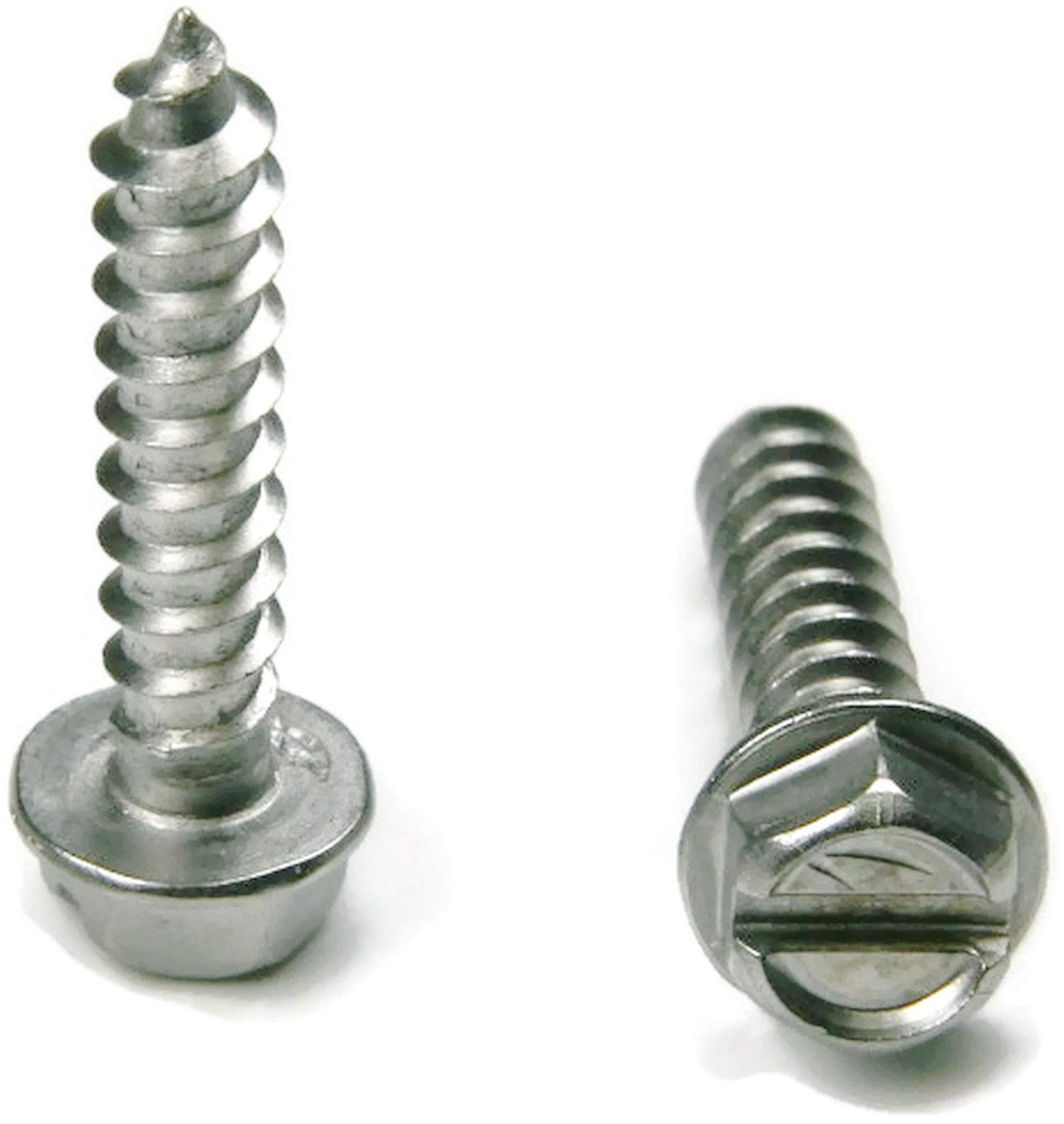 Stainless Steel Slotted Hex Indented Head Sheet Metal Screw #12 x 3, Packedge Quantity 250 - Quality Assurance from JumpingBolt