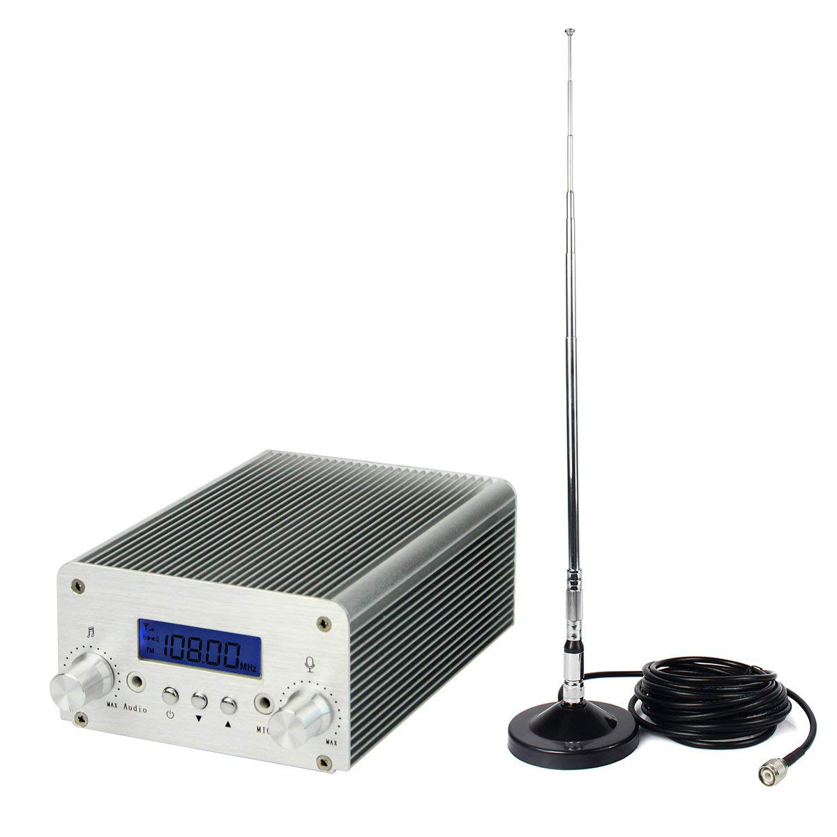Retekess T15B 5W/15W FM Transmitter Long Range Wireless Mini Radio Broadcast Stereo Station PLL Wireless Music LCD Display with AUX in Line Antenna for Church Home Car Christmas(Silver)