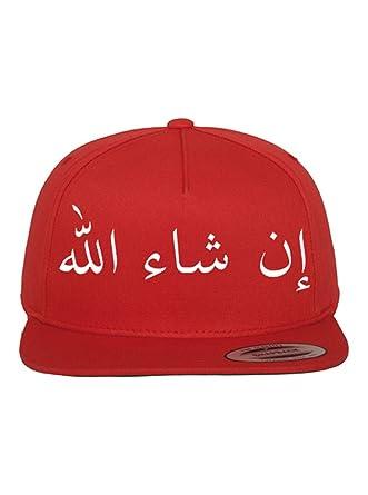 Inshallah Stick arabische Schrift auf Original Flat Peak Snapback Hip Hop  Rapper Cap … (Rot)  Amazon.de  Bekleidung d3c7cf6928
