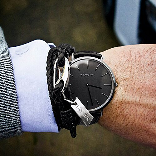 Reloj hombre RELOJ tayroc Classic Black Classic cronógrafo acero inoxidable cuarzo banda de cuero reloj de pulsera txm007: Amazon.es: Relojes