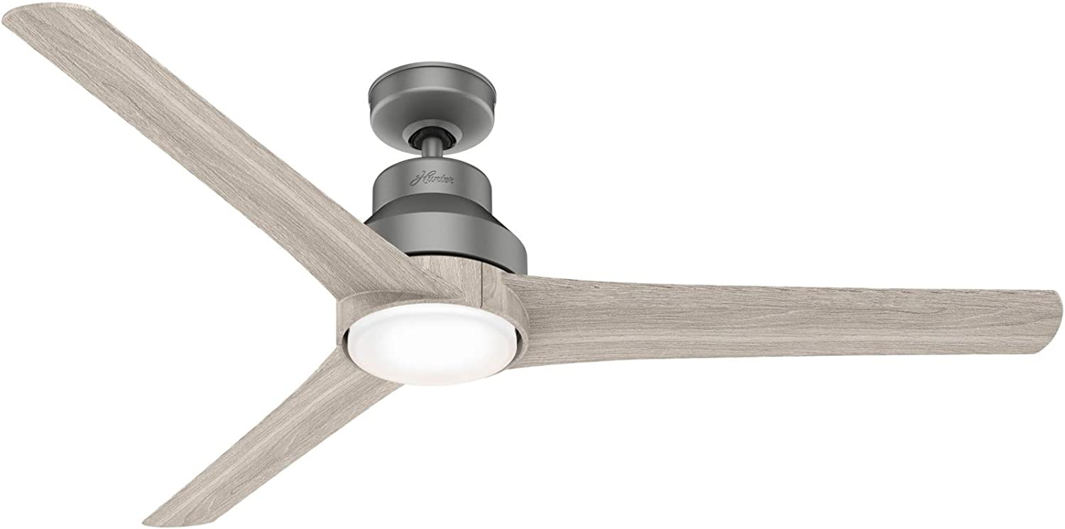 "HUNTER 50008 Indoor / Outdoor Ceiling Fan with LED Light and Remote Control, 60"", Silver"