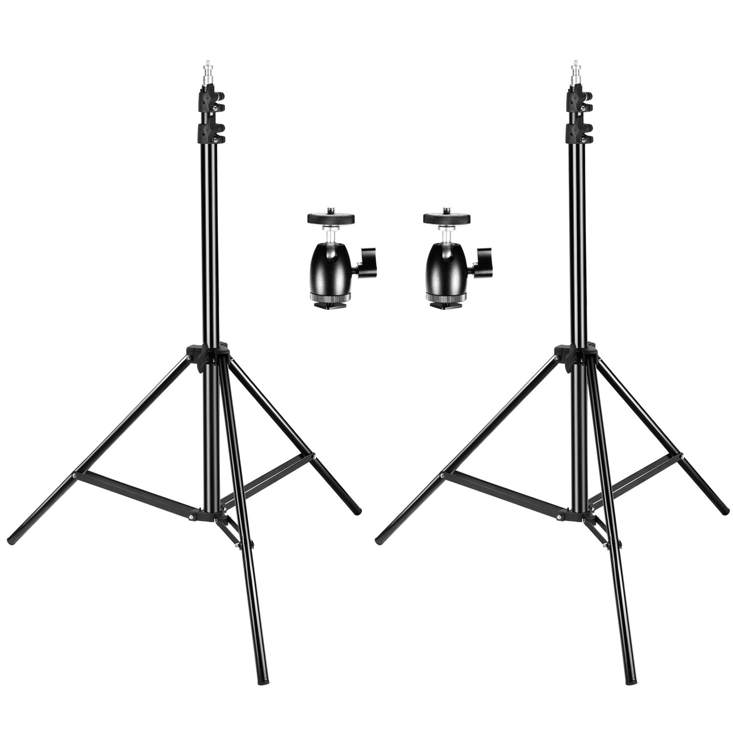 Neewer 2 Packs 75 inches/190 centimeters Adjustable Light Stands with 2 Pieces 1/4-inch Screw Tripod Mini Ball Head Hot Shoe Adapters for HTC Vive VR, Video, Portrait and Product Photography 90088786