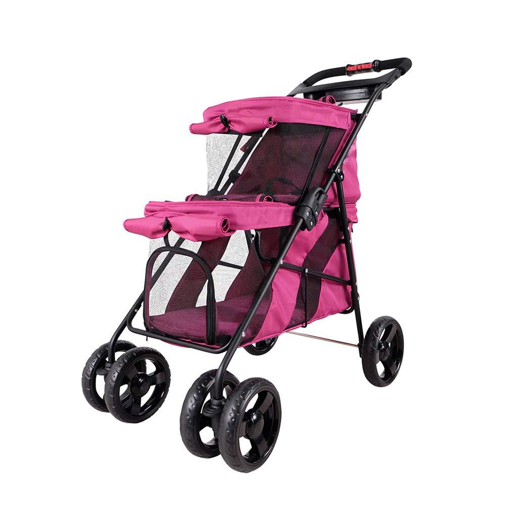 Jlxl Passeggino per per per animali domestici Doppio gatto protezione solare cane su per auto impermeabile parto pieghevole (colore   rosa) 99290a