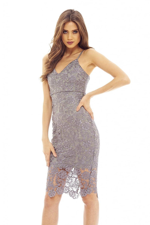 AX Paris Womens Grey Crochet Midi Dress Glamorous Stylish Lady Clothing
