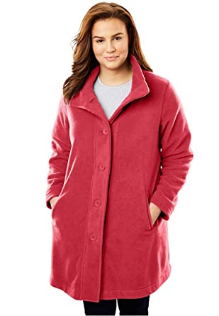 dd93bc60ae9 Amazon.com  Woman Within Plus Size Fleece Swing Funnel-Neck Jacket  Clothing