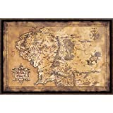 """The Hobbit / The Lord Of The Rings - Middle Earth Map - Framed Movie Poster / Print (Limited Dark / Dark Edition) (Size: 36"""" x 24"""")"""