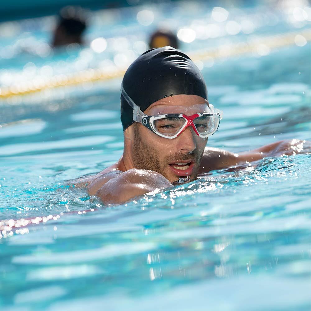 Aqua Sphere Vista Swim Mask with Clear Lens (Gray/Blue). Durable UV Protection Anti-Fog Swim Goggles
