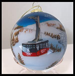 Hand Painted Glass Christmas Ornament - Winter Tram Jackson Hole