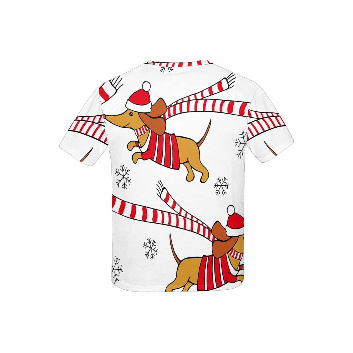 XS-XL INTERESTPRINT Childs T-Shirt Cartoon Picture of A Dog Dachshund in Red Jersey
