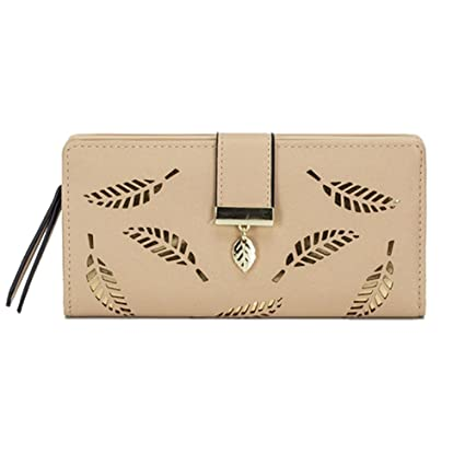 MANGO KING Billetera para mujer Hollow Leaf Pattern Bifold Leather Lady Billetera larga (albaricoque)