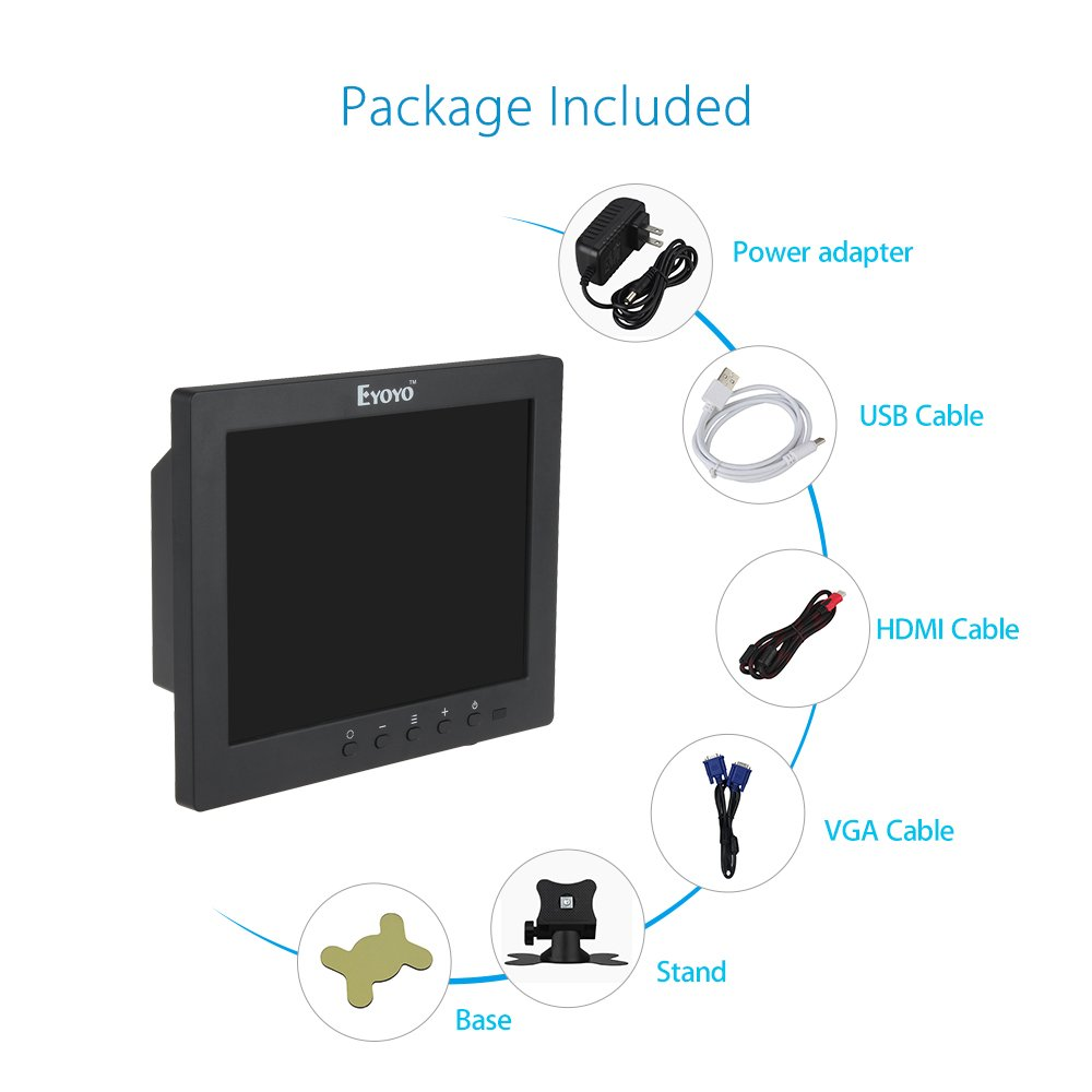 Eyoyo S801C 8 Inch Small HDMI BNC VGA Monitor LCD Screen 1024x768 4:3 Display Ypbpr Input Support Powerbank 5V Input by Eyoyo (Image #7)