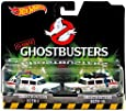 Mattel Hot Wheels DVG08–Ghostbusters Premium Pack of 2vehicles - Ecto 1and Ecto 1A Miniature Models