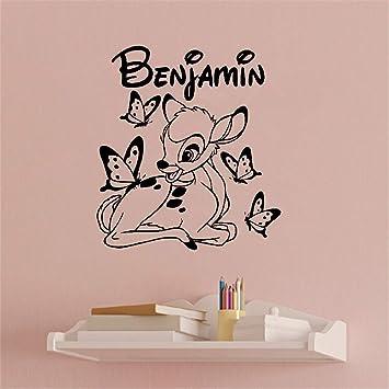 Wandaufkleber Kinderzimmer Wandtattoo Kinderzimmer Individuell Angefertigte Personalisierte Bambi Und Schmetterling Personalisierte Namen Kinderzimmer Amazon De Baumarkt