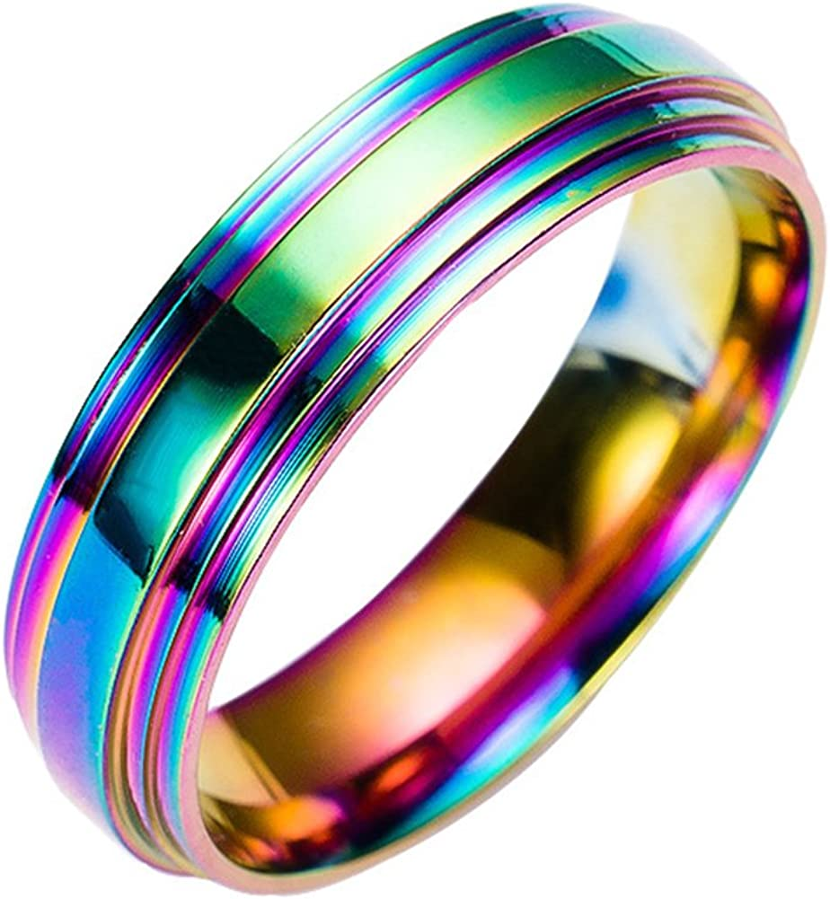 JAJAFOOK Fashion LGBT Pride 316L Stainless Steel Ring for Men & Women with Rainbow Colors