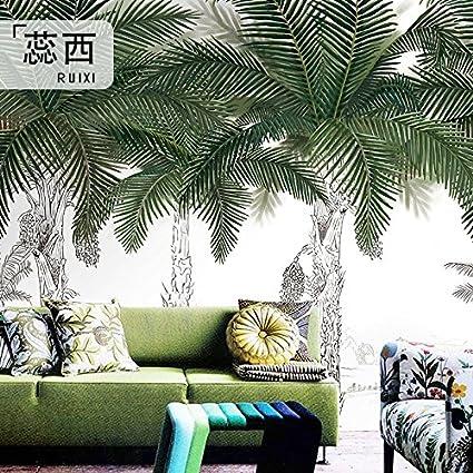 HUANGYAHUI Murals Tropical Palm Tree Wallpaper Xuan Restaurant Off Bedroom Living Room Green Coconut Trees