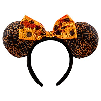 Disney Minnie Mouse Ears Headband Halloween Orange Black Theme Parks: Clothing