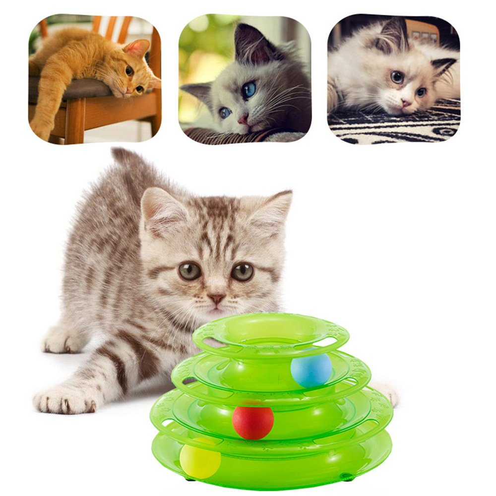 Amazon.com : JunBo Cat Roller Toys with Balls Interactive Cat Toys in 3 Level Tower (Green) : Pet Supplies
