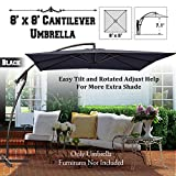BenefitUSA Cantilever Banana Umbrella 8'x8' Patio Offset Parasol Garden Outdoor Sunshade Hanging Market---360'C Rotational Function (BLACK)