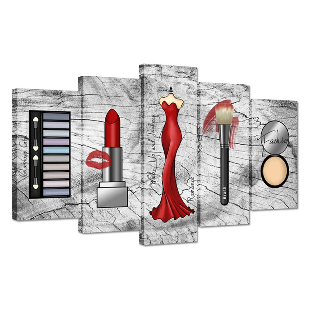 ZingArts 5 Pieces Fashion Canvas Wall Art Red Lipstick Eyeshadow Compact New Dress Brush Makeup Tools Picture Print On Vintage Grey Backgroound Canvas Artwork for Hotel Lady Bedroom Home Decor