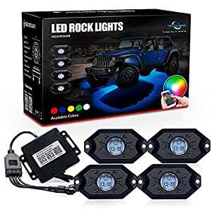 MICTUNING RGB LED Rock Lights with Upgraded APP Bluetooth Controller, Timing Function, Music Mode - 4 Pods Multicolor Neon LED Light Kit