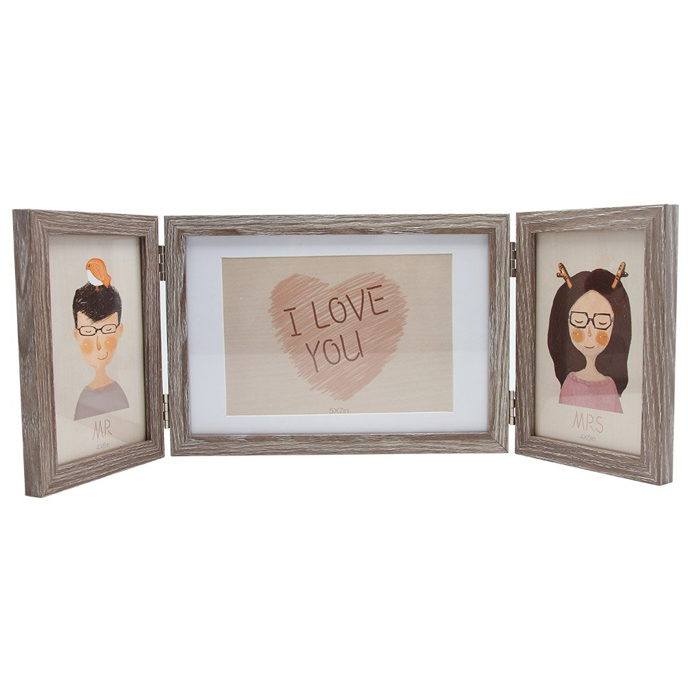 Afuly Rustic Three Picture Frame 4x6 and 5x7 Wooden Hinged Triple Photo Frames for Desk 3 Opening Vertical for Table Top Display Gifts by Afuly